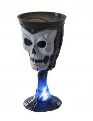 Verre lumineux noir  tête de mort Halloween