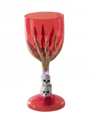 Verre lumineux rouge main squelette Halloween