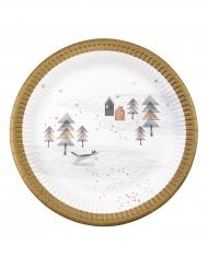 8 Assiettes en papier Jardin de Noël 23 cm
