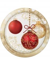 8 Assiettes en carton Boules de Noël 23 cm