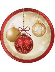 8 Petites assiettes en carton Boules de Noël 18 cm