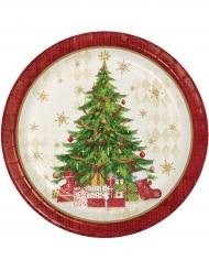8 Assiettes en carton rouges sapin de Noël 22 cm