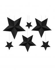 6 Etoiles à suspendre 3D noires Noël