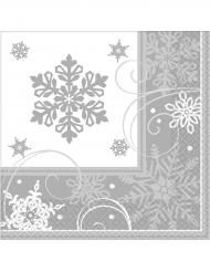 16 Petites serviettes en papier flocons de neige 25 x 25 cm