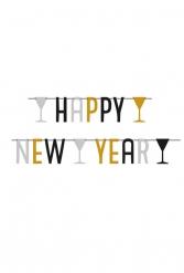 Guirlande happy new year argent noir & doré 1.65 m
