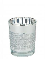 Photophore miroir argent 6,5 x 5 cm