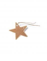 8 Étiquettes étoiles kraft et doré 7,3 cm