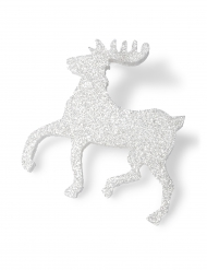 Cerf polystyrène blanc pailleté Noël 30 cm
