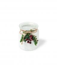 Photophore givré blanc avec baies de Noël 9 x 7,5 cm