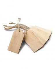 6 Etiquettes en bois clair 7 x 3,5 cm
