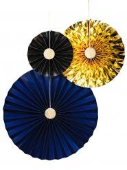3 Rosaces en papier bleu, or et noir 20, 30 et 45 cm