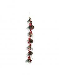 Branchage sapin pomme de pin, bais rouge & noeud ficelle 55 cm