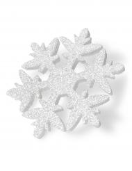 Flocon polystyrène blanc pailleté 30 cm
