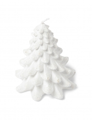 Bougie sapin paillettes blanches 9,5 cm