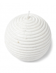 Bougie boule paillettes blanches 7 cm