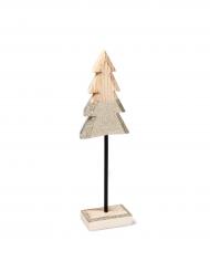 Décoration sapin en bois sur socle paillettes or 30 cm