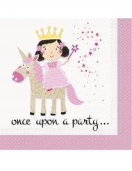16 Serviettes en papier princesse et licorne 33 x 33 cm
