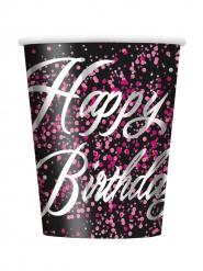 8 Gobelets en carton Happy Birthday confettis roses 25 cl