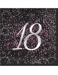 16 Serviettes 18 ans en papier Happy Birthday confettis roses 33 x 33 cm