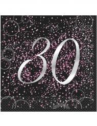 16 Serviettes 30 ans en papier Happy Birthday confettis roses 33 x 33 cm