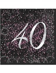 16 Serviettes 40 ans en papier Happy Birthday confettis roses 33 x 33 cm