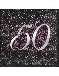 16 Serviettes 50 ans en papier Happy Birthday confettis roses 33 x 33 cm