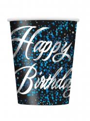8 Gobelets en carton Happy Birthday confettis bleus 25 cl