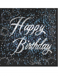 16 Serviettes en papier Happy Birthday confettis bleus 33 x 33 cm