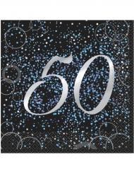 16 Serviettes 50 ans en papier Happy Birthday confettis bleus 33 x 33 cm