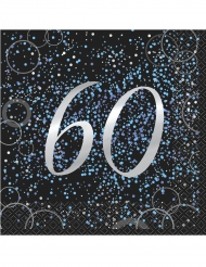 16 Serviettes 60 ans en papier Happy Birthday confettis bleus 33 x 33 cm