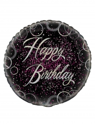 Ballon aluminium Happy Birthday confettis roses 46 cm