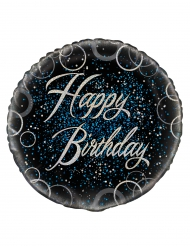 Ballon aluminium Happy Birthday confettis bleus 46 cm