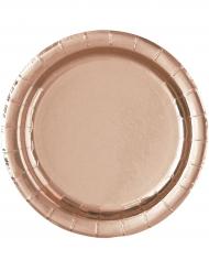 8 Petites assiettes en carton rose gold 18 cm