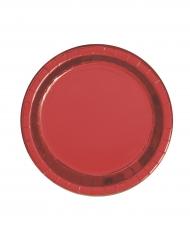 8 Petites assiettes en carton rouge métallisé 18 cm
