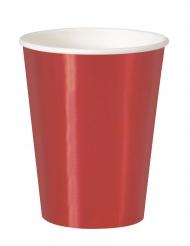 8 Gobelets en carton rouge métallisé 25 cl