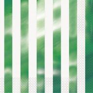 16 Serviettes en papier rayures vert métallisé 33 x 33 cm