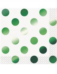 16 Petites Serviettes en papier pois vert métallisé 25 x 25 cm