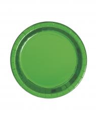 8 Petites assiettes en carton vert métallisé 18 cm