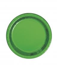 8 Assiettes en carton vert métallisé 23 cm