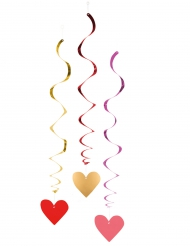 3 Décorations à suspendre spirales Love you 85 cm
