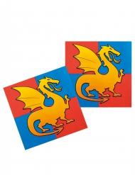 12 Serviettes en papier chevaliers 33 x 33 cm