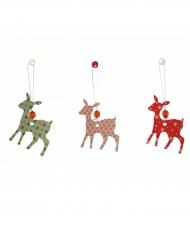 6 Décorations cerfs  Noël 7,5 cm