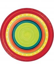 8 Petites assiettes en carton Mexicaines 18 cm