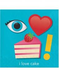 16 Serviettes en papier Emojions™ cake 33 x 33 cm