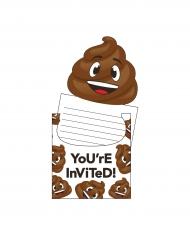 8 Cartes d'invitation émoticône caca 15 x 10 cm