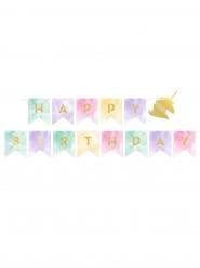 Guirlande anniversaire licorne 14 cm x 2,4 m