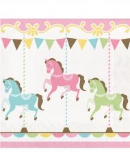 16 Serviettes en papier Carrousel 33 x 33 cm