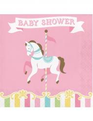 16 Serviettes en papier Carrousel baby shower 33 x 33 cm