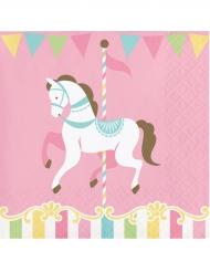16 Petites serviettes en papier cheval 25 x 25 cm