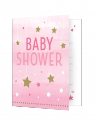8 Cartons d'invitation Baby Shower rose One Little Star 10 x 12 cm